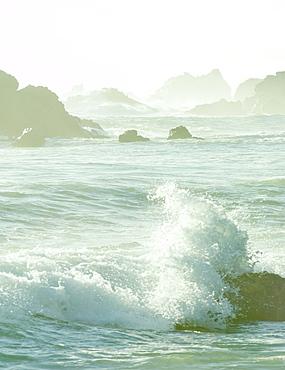 Crashing waves on rocks at Big Sur, California, United States of America, North America