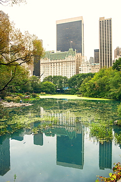 Midtown Manhattan reflected in Central Park lake, New York, United States of America, North America