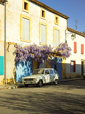 Classic french car and wisteria, Lacapelle Biron, Lot-et-Garonne, France, Europe