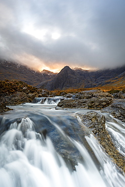 The Black Cuillin mountains in Glen Brittle from the Fairy Pools, Isle of Skye, Inner Hebrides, Scotland, United Kingdom, Europe