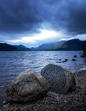 National Trust Centenary Stone, Derwent Water, Lake District National Park, UNESCO World Heritage Site, Cumbria, England, United Kingdom, Europe