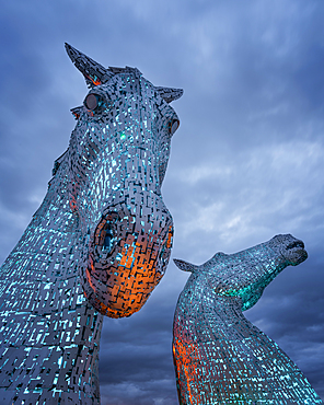 The Kelpies at blue hour, Forth and Clyde Canal at Helix Park, Falkirk, Stirlingshire, Scotland, United Kingdom, Europe