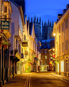 York at blue hour with York Minster in the background, York, Yorkshire, England, United Kingdom, Europe