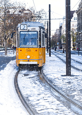 Budapest tram in the snow, Budapest, Hungary, Europe