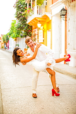 Couple playing, Old Walled-in City, Cartagena, Colombia, South America