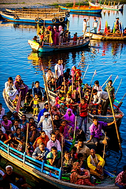 Spectators of the Traditional Krishna and Radha dance during the Flower Holi Festival, Vrindavan, Uttar Pradesh, India, Asia