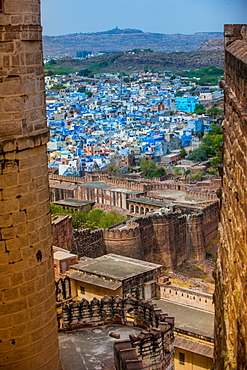 The view from Mehrangarh Fort of the blue rooftops in Jodhpur, the Blue City, Rajasthan, India, Asia