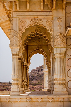 Scalloped archways of Jaswant Thada Tomb, Jodhpur, The Blue City, Rajasthan, India, Asia