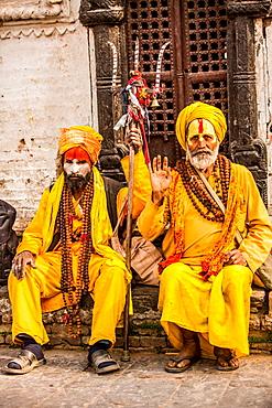 Hindu holy men at Pashupati Temple, Kathmandu, Nepal, Asia