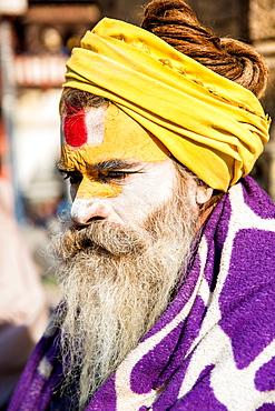 Holy man at Pashupati Temple, Kathmandu, Nepal, Asia