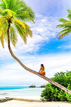 Scenic at Maldivesi Island with model, Maldives, Indian Ocean, Asia