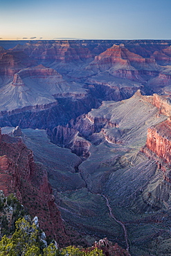 Looking into the ancient metropolis of the Grand Canyon from Mohave Point complete with temples, peaks, plateaus and buttes, Grand Canyon, UNESCO World Heritage Site, Arizona, United States of America, North America