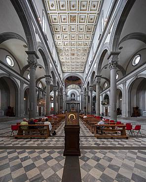 The interior of the San Lorenzo, the parish church of the Medici family, Florence, Tuscany, Italy, Europe