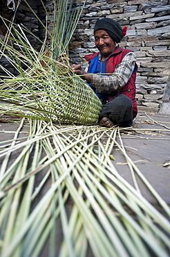 A man uses great skill and traditional knowledge to make a bamboo basket (Doko) by hand, Manaslu Region, Nepal, Asia