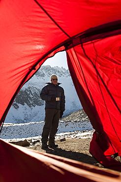 An early start before making the long trek across the Larke La, the highest point of the Manaslu circuit trek, Nepal, Asia