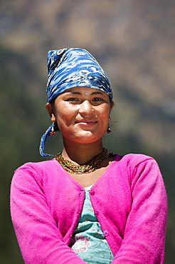 A Nepali girl from the remote Dolpa region, Nepal, Asia
