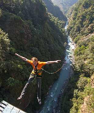 Canyon swing at The Last Resort, Nepal, Asia