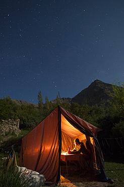 Dining under the stars during the Hidden Valleys trek in Ladakh, India, Asia