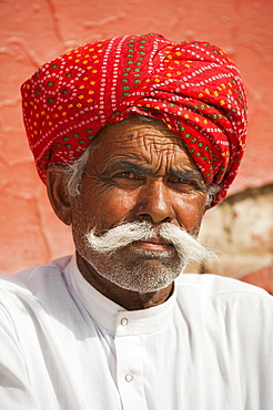 A Rajasthani man wearing a turban and a typically large moustache, Rajasthan, India, Asia