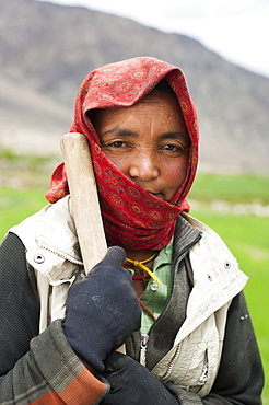 A Ladakhi farmer from the Nubra Valley, Ladakh, India, Asia