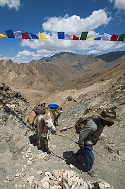 The high passes have spiritual significance for local people as well as those from afar, Prinkiti La, Ladakh, India, Asia