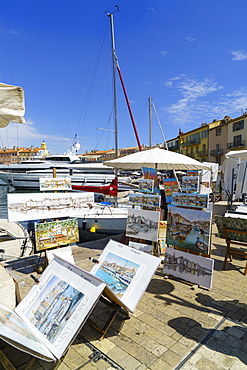 Art for sale by the harbour, Saint Tropez, Var, Cote d'Azur, Provence, France, Europe