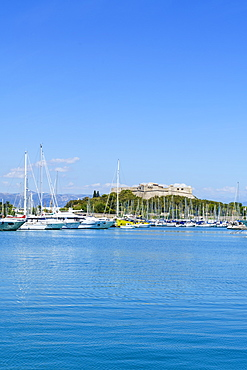 Harbour and Fort Carre, Antibes, Alpes Maritimes, Cote d'Azur, Provence, France, Mediterranean, Europe