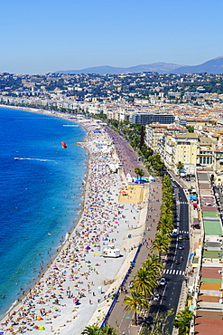 High view of the Promenade Anglais and beach, Nice, Alpes Maritimes, Cote d'Azur, Provence, France, Mediterranean, Europe