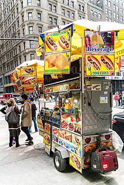 Street food cart, Manhattan, New York City, United States of America, North America