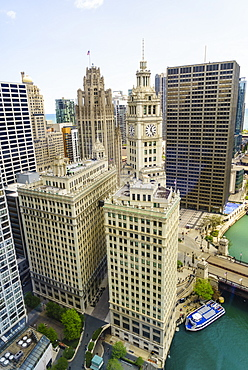 High view of the Wrigley Building, Chicago, Illinois, United States of America, North America