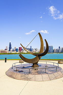 The Adler Planetarium sundial with Lake Michigan and city skyline beyond, Chicago, Illinois, United States of America, North America