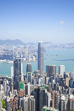 City skyline, viewed from Victoria Peak with Two International Finance Centre (2IFC), Hong Kong, China, Asia
