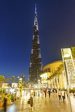 Burj Khalifa and the Dubai Mall by night, Dubai, United Arab Emirates, Middle East