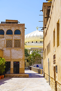 Restored traditional houses in Al Fahidi Historic Neighbourhood, Bur Dubai, Dubai, United Arab Emirates, Middle East