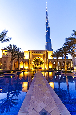 Burj Khalifa and Palace Hotel at dusk, Downtown, Dubai, United Arab Emirates, Middle East