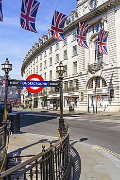Union flags flying in Regent Street, London, W1, England, United Kingdom, Europe
