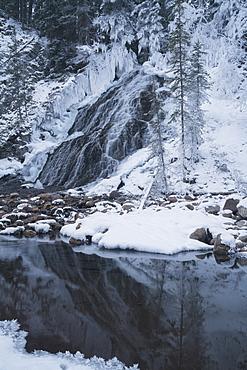 Fan Falls in Winter, Alberta, Canada, North America