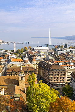 Town view from St. Peter's Cathedral, Geneva, Switzerland, Europe