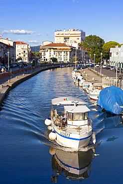 Boat on the Burlamacca canal, Viareggio, Tuscany, Italy, Europe