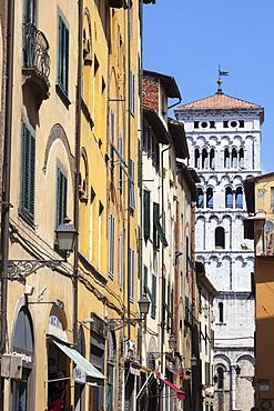 Campanile of San Michele in Foro, Via di Poggio, Lucca, Tuscany, Italy, Europe