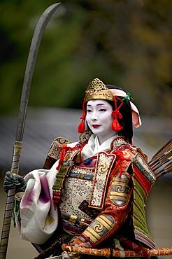 Female warrior during the Jidai Festival, Kyoto, Japan, Asia