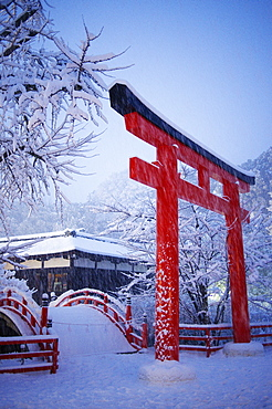 Blue hour in Shimogamo Shrine, UNESCO World Heritage Site, during the largest snowfall on Kyoto in the last 50 years, Kyoto, Japan, Asia