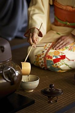 Tea ceremony in Shodensan-so, Kyoto, Japan, Asia
