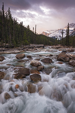 Sunrise and glacial blue rushing waters at Mistaya Canyon, Banff National Park, UNESCO World Heritage Site, Alberta, The Rockies, Canada, North America