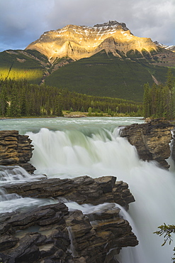 Athabasca Falls at sunset, Jasper National Park, UNESCO World Heritage Site, Alberta, Canada, North America