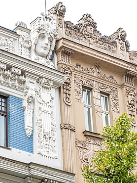 Art Nouveau buildings, architectural detail, UNESCO World Heritage Site, Riga, Latvia, Baltics, Europe