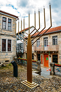 Giant menorah in Belmonte, Castelo Branco, Portugal, Europe