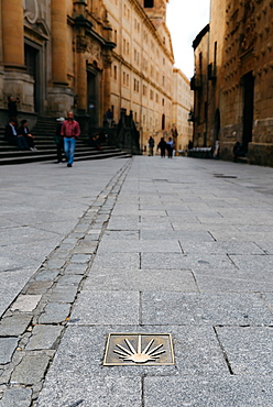 Camino de Santiago spiritual trail marker on the road in Salamanca, Castilla y Leon, Spain, Europe
