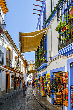 Tourist shops in the narrow pedestrian streets of Cordoba, Andalucia, Spain