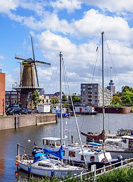 Middenkous Port and Windmill in Delfshaven, Rotterdam, South Holland, The Netherlands, Europe